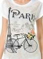 Dewberry Bisiklet Yaka Baskılı Tişört Beyaz